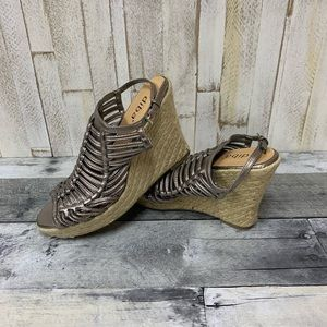 Diba Copper Colored Strappy Wedges